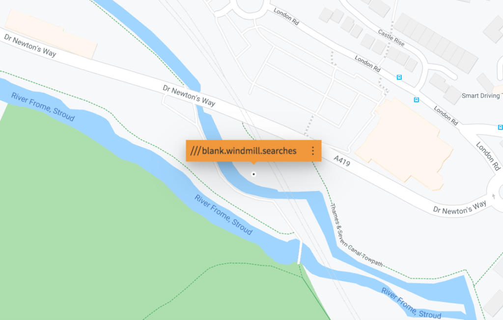 Map for location to find XR Samba outside, what three words map: blank windmill searches