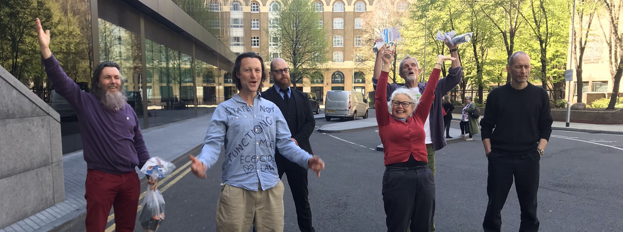Six of the shell 7 outside Southwark Crown court
