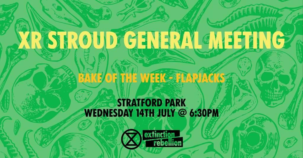 XR Stroud general meeting bake of the week flapjacks - at Stratford Park Wednesday 14 July at 6:30pm
